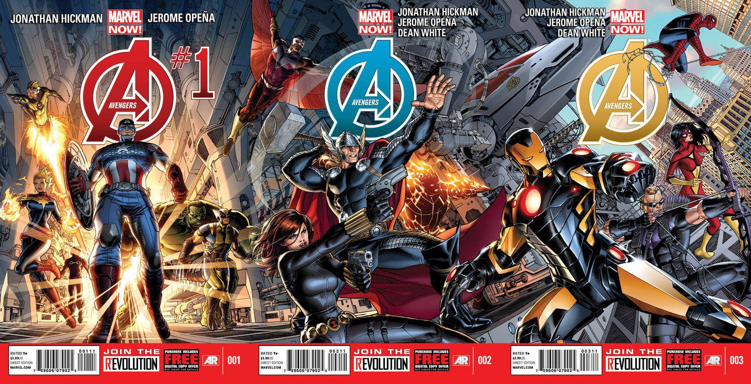 marvel now reveals hickman and opena 39 s avengers covers. Black Bedroom Furniture Sets. Home Design Ideas