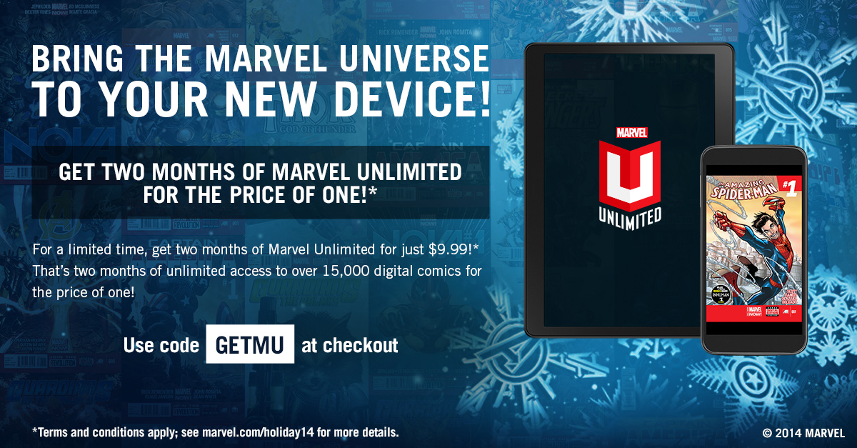 Marvel Store Coupon Code - Get Your First Month of Marvel Unlimited for Just $1 If your love for the Marvel Universe knows no bounds, then don't hesitate to check out this offer from Marvel! Apply this coupon at the checkout and you'll spend only $1 on your first month of Marvel Unlimited!