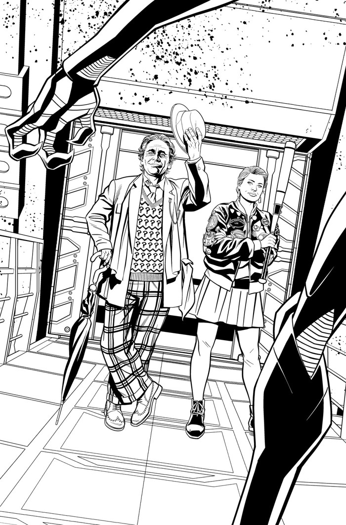 Doctor Who 7D Black and White Promo Art The Seventh Doctor and Ace return in a comic mini-series