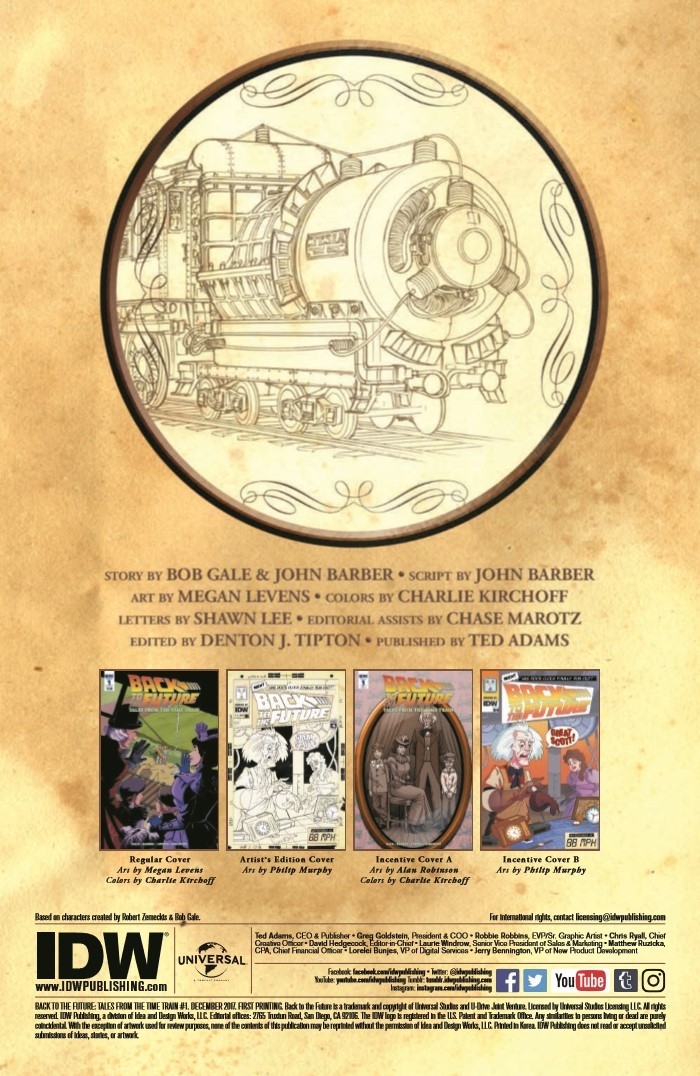 Back to the Future Time Train #1 Cover A - Levens